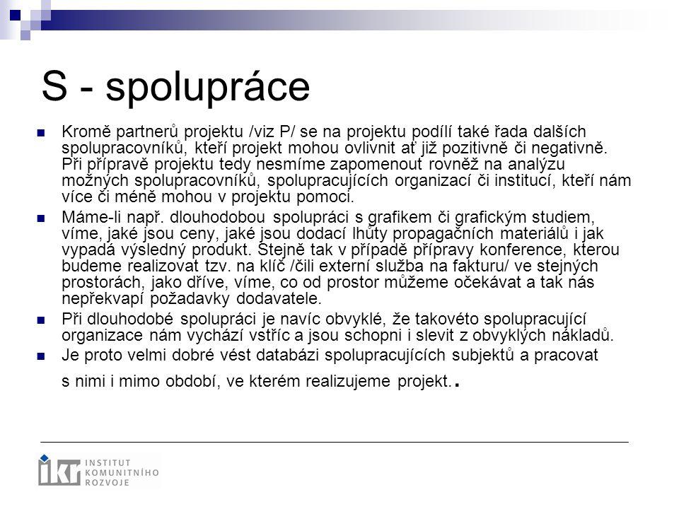 S - spolupráce Kromě partnerů projektu /viz P/ se na projektu podílí také řada dalších spolupracovníků, kteří projekt mohou ovlivnit ať již pozitivně