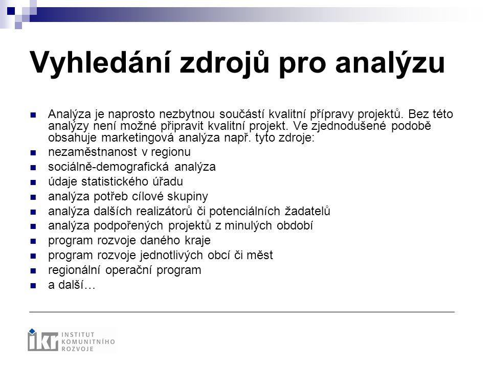 Vyhledání zdrojů pro analýzu Analýza je naprosto nezbytnou součástí kvalitní přípravy projektů. Bez této analýzy není možné připravit kvalitní projekt