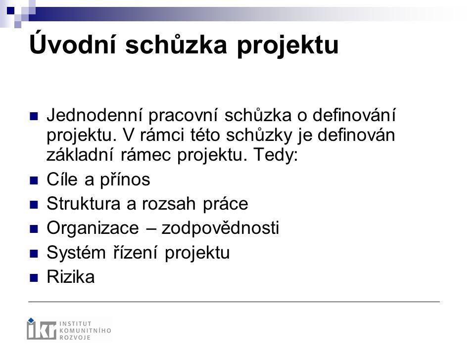 Úvodní schůzka projektu Jednodenní pracovní schůzka o definování projektu. V rámci této schůzky je definován základní rámec projektu. Tedy: Cíle a pří