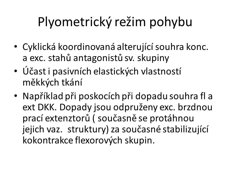 Plyometrický režim pohybu Cyklická koordinovaná alterující souhra konc.