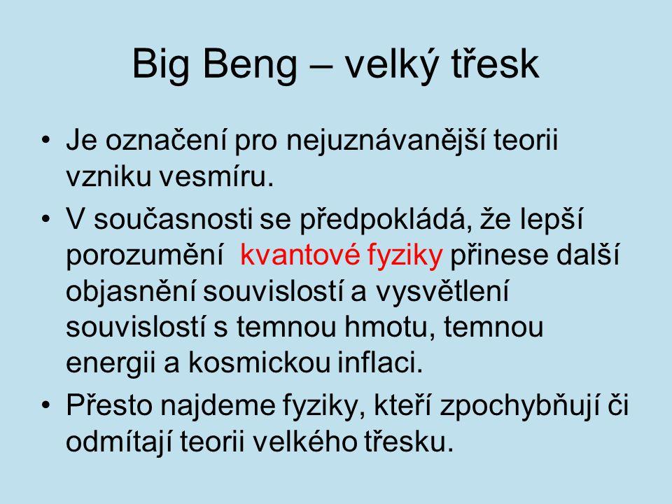 Big Beng – velký třesk Je označení pro nejuznávanější teorii vzniku vesmíru. V současnosti se předpokládá, že lepší porozumění kvantové fyziky přinese