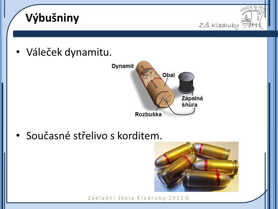 Základní škola Kladruby 2011  Výbušniny Váleček dynamitu. Současné střelivo s korditem.
