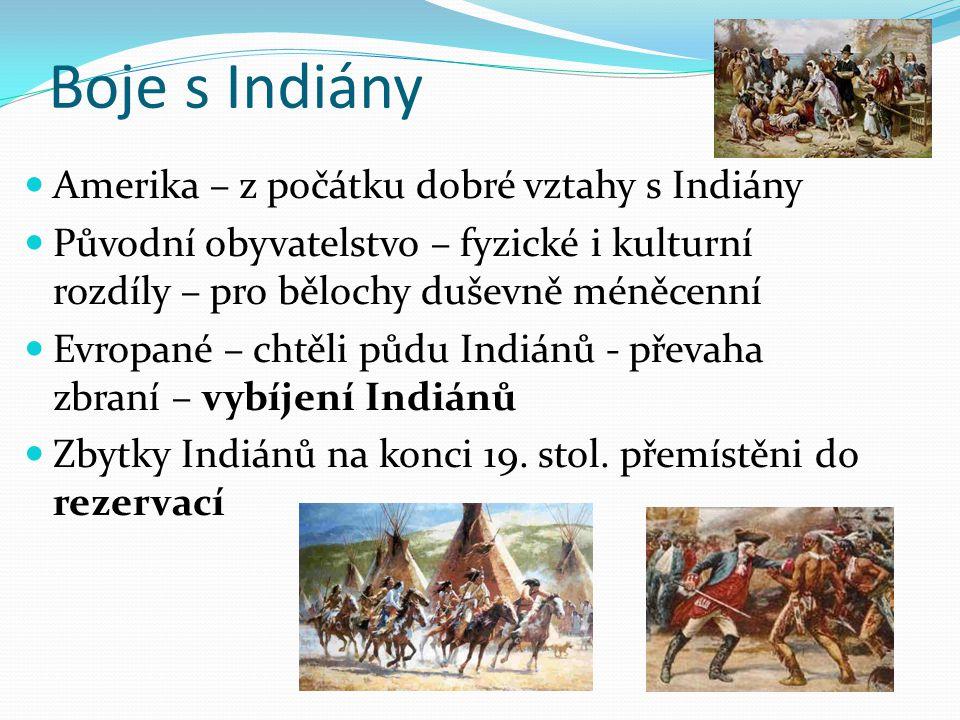 Boje s Indiány Amerika – z počátku dobré vztahy s Indiány Původní obyvatelstvo – fyzické i kulturní rozdíly – pro bělochy duševně méněcenní Evropané –