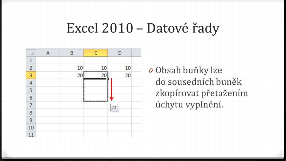 Excel 2010 – Datové řady 0 Obsah buňky lze do sousedních buněk zkopírovat přetažením úchytu vyplnění.