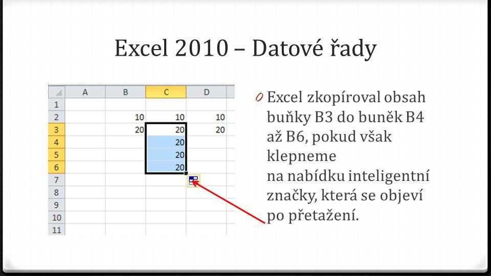 Excel 2010 – Datové řady 0 Standardní funkce po přetažení je zkopírování obsahu buňky 0 Vybereme-li volbu Vyplnit řady