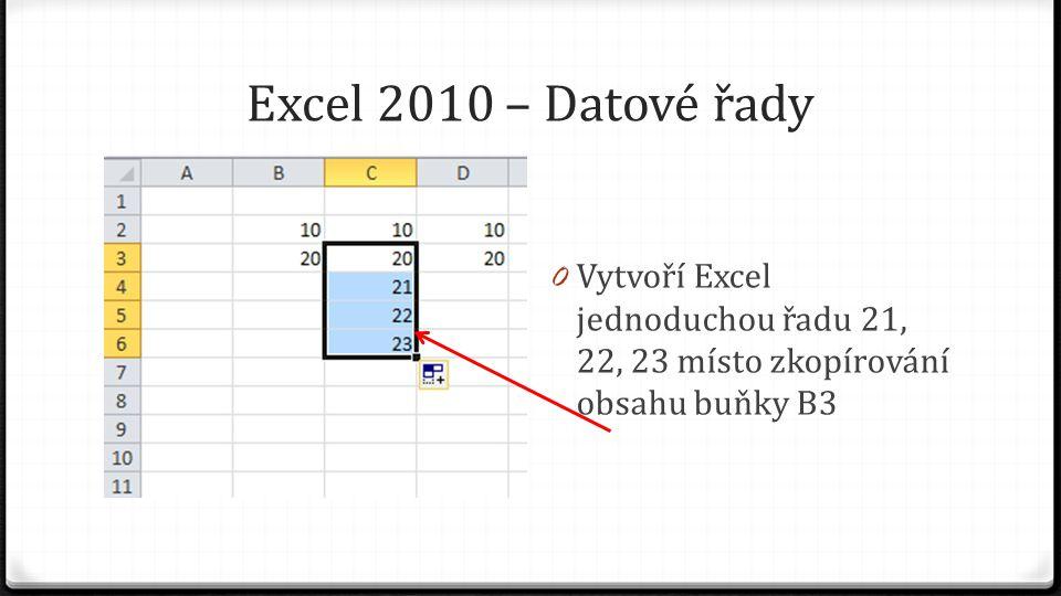 Excel 2010 – Datové řady 0 Pokud vybereme oblast buněk D2:D3 (pomocí dvojtečky označujeme interval), uchopíme úchyt a potáhneme dolů