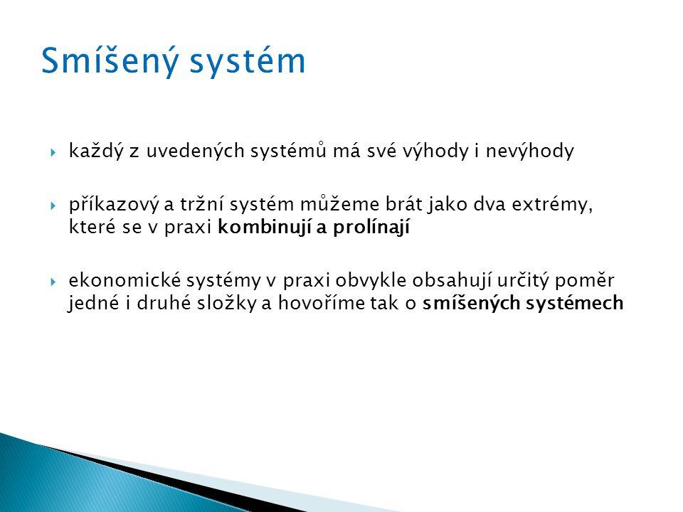  každý z uvedených systémů má své výhody i nevýhody  příkazový a tržní systém můžeme brát jako dva extrémy, které se v praxi kombinují a prolínají  ekonomické systémy v praxi obvykle obsahují určitý poměr jedné i druhé složky a hovoříme tak o smíšených systémech