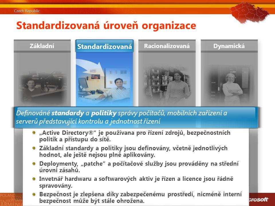 """Standardizovaná úroveň organizace ZákladníRacionalizovanáDynamická Standardizovaná """"Active Directory®"""" je používana pro řízení zdrojů, bezpečnostních"""