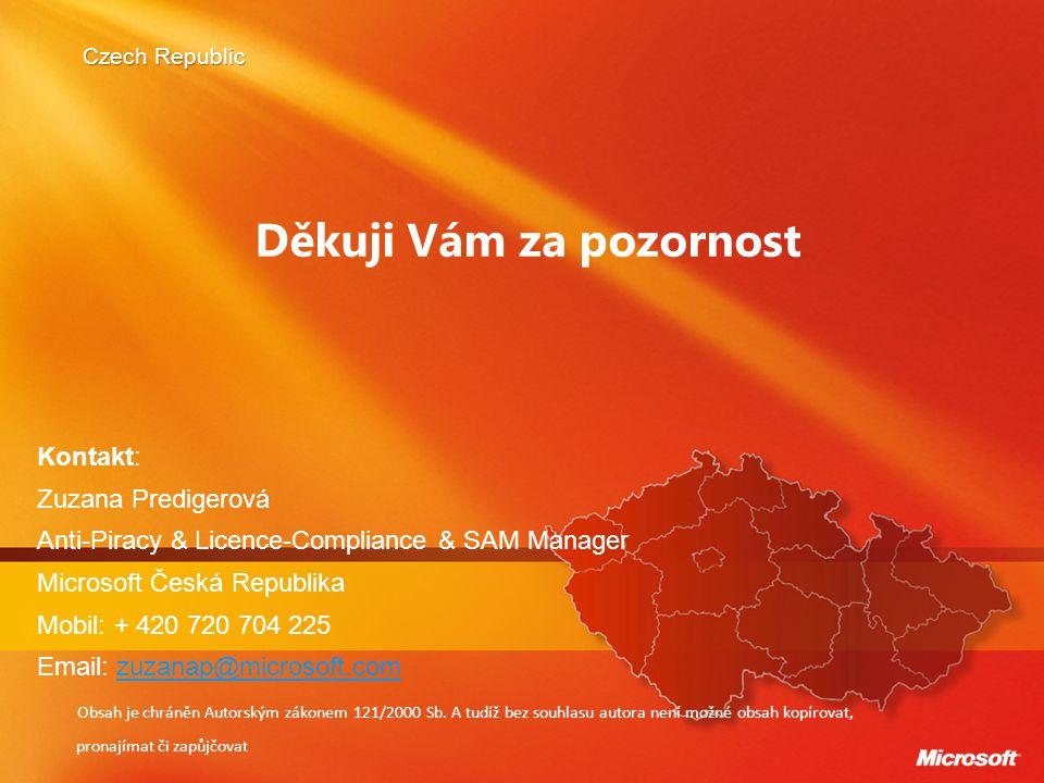Czech Republic Děkuji Vám za pozornost Kontakt: Zuzana Predigerová Anti-Piracy & Licence-Compliance & SAM Manager Microsoft Česká Republika Mobil: + 4