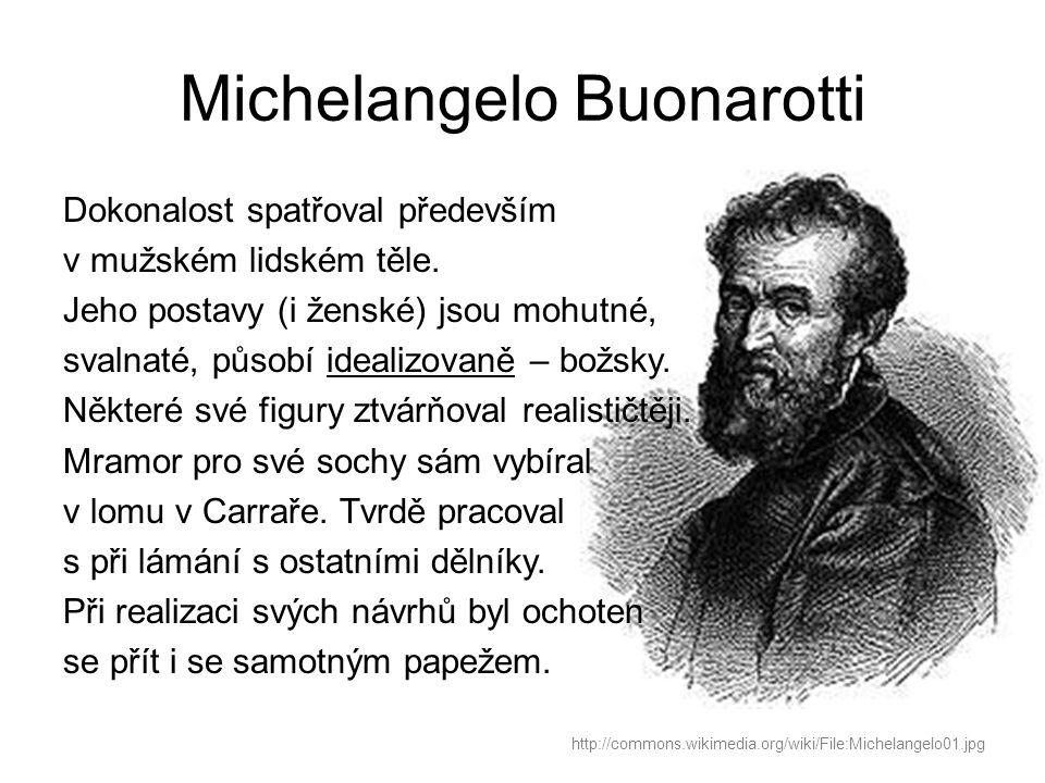 Michelangelo Buonarotti Dokonalost spatřoval především v mužském lidském těle.