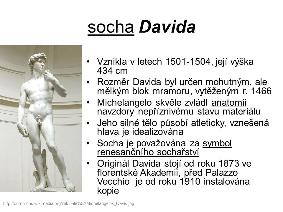 socha Davida Vznikla v letech 1501-1504, její výška 434 cm Rozměr Davida byl určen mohutným, ale mělkým blok mramoru, vytěženým r.
