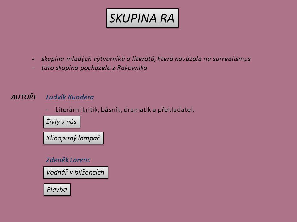 SKUPINA RA -skupina mladých výtvarníků a literátů, která navázala na surrealismus -tato skupina pocházela z Rakovníka Ludvík KunderaAUTOŘI -Literární