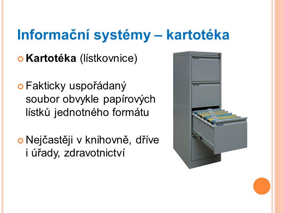 Informační systémy – kartotéka Kartotéka (lístkovnice) Fakticky uspořádaný soubor obvykle papírových lístků jednotného formátu Nejčastěji v knihovně, dříve i úřady, zdravotnictví