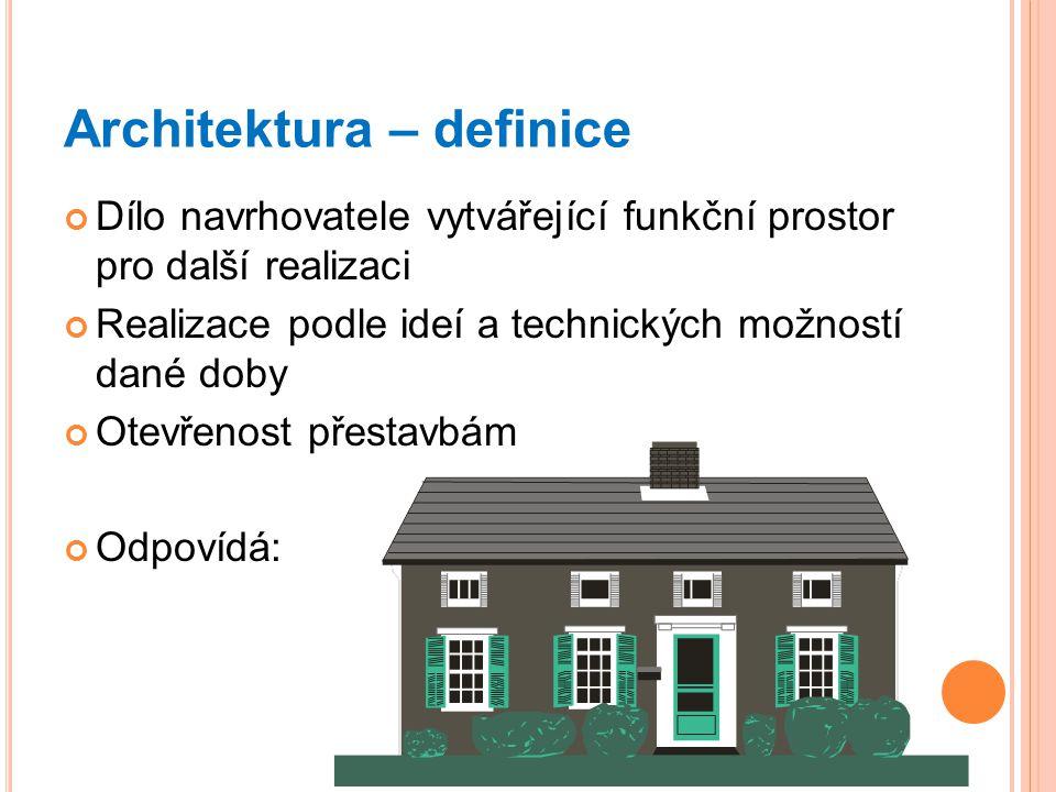 Architektura – definice Dílo navrhovatele vytvářející funkční prostor pro další realizaci Realizace podle ideí a technických možností dané doby Otevřenost přestavbám Odpovídá: