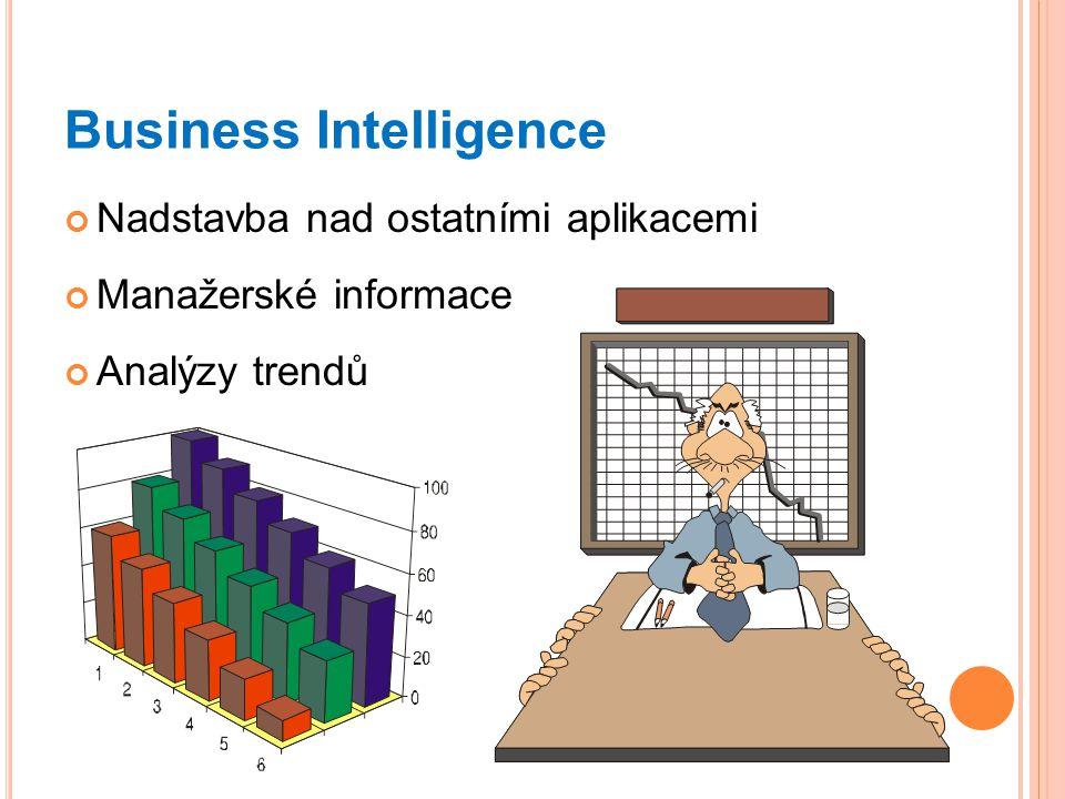 Business Intelligence Nadstavba nad ostatními aplikacemi Manažerské informace Analýzy trendů