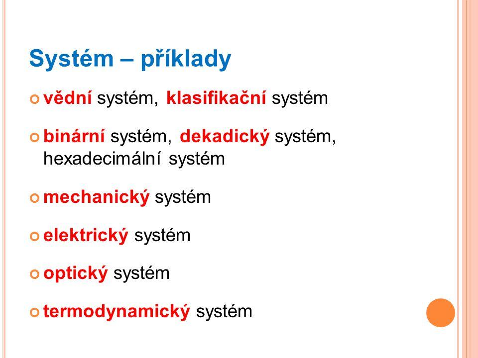 Systém – příklady vědní systém, klasifikační systém binární systém, dekadický systém, hexadecimální systém mechanický systém elektrický systém optický systém termodynamický systém