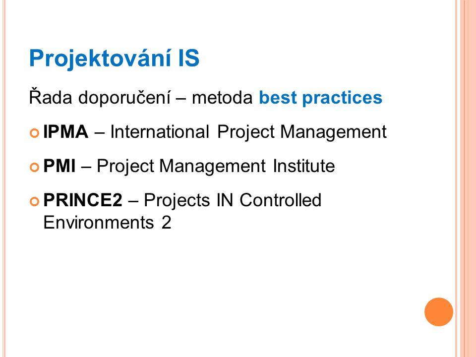 Projektování IS Řada doporučení – metoda best practices IPMA – International Project Management PMI – Project Management Institute PRINCE2 – Projects IN Controlled Environments 2