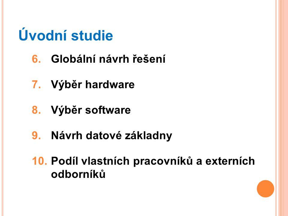 Úvodní studie 6.Globální návrh řešení 7.Výběr hardware 8.Výběr software 9.Návrh datové základny 10.Podíl vlastních pracovníků a externích odborníků