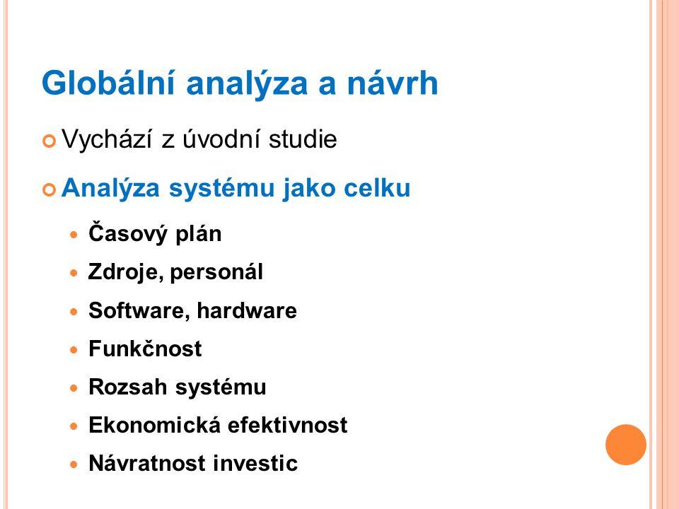 Globální analýza a návrh Vychází z úvodní studie Analýza systému jako celku Časový plán Zdroje, personál Software, hardware Funkčnost Rozsah systému Ekonomická efektivnost Návratnost investic