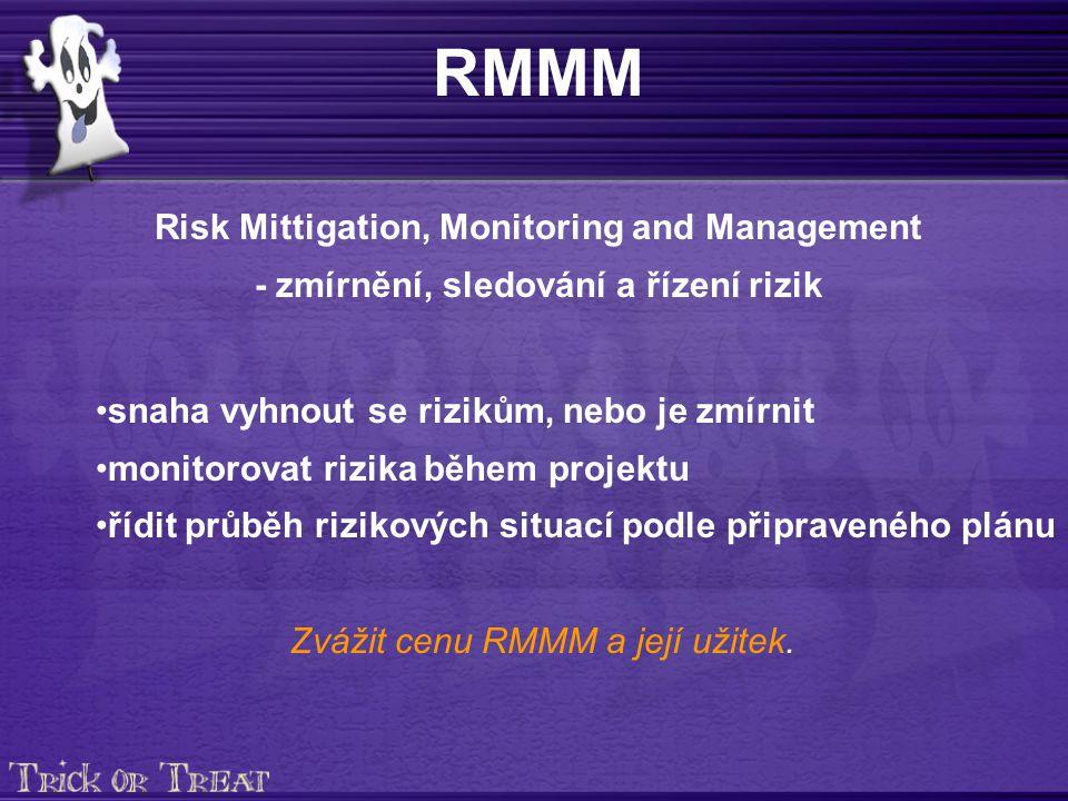 RMMM Risk Mittigation, Monitoring and Management - zmírnění, sledování a řízení rizik snaha vyhnout se rizikům, nebo je zmírnit monitorovat rizika během projektu řídit průběh rizikových situací podle připraveného plánu Zvážit cenu RMMM a její užitek.