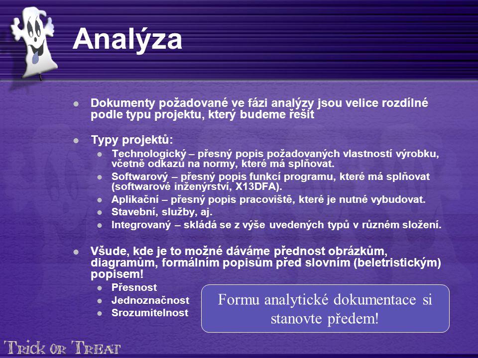 Analýza Dokumenty požadované ve fázi analýzy jsou velice rozdílné podle typu projektu, který budeme řešit Typy projektů: Technologický – přesný popis požadovaných vlastností výrobku, včetně odkazů na normy, které má splňovat.
