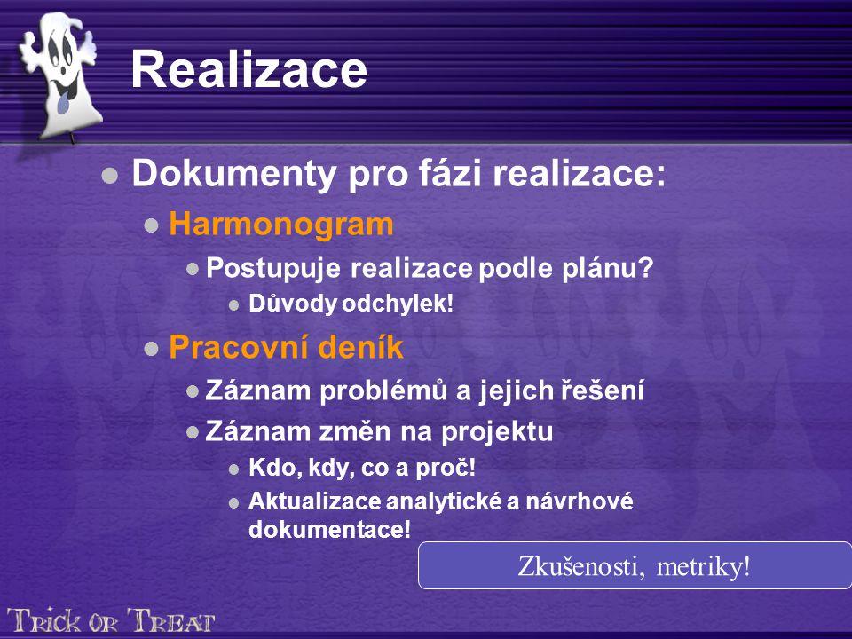 Realizace Dokumenty pro fázi realizace: Harmonogram Postupuje realizace podle plánu.
