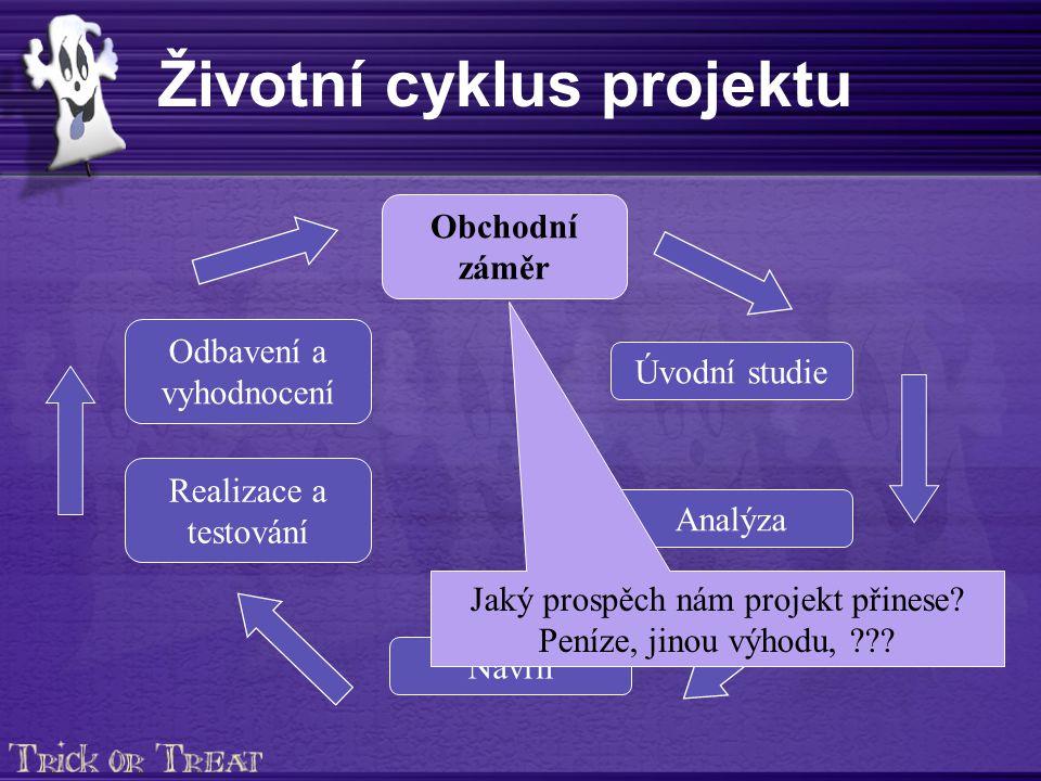 Životní cyklus projektu Obchodní záměr Úvodní studie Analýza Realizace a testování Odbavení a vyhodnocení Návrh Jaký prospěch nám projekt přinese.