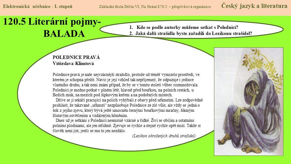 120.6 Literární pojmy- BALADA Elektronická učebnice - I.
