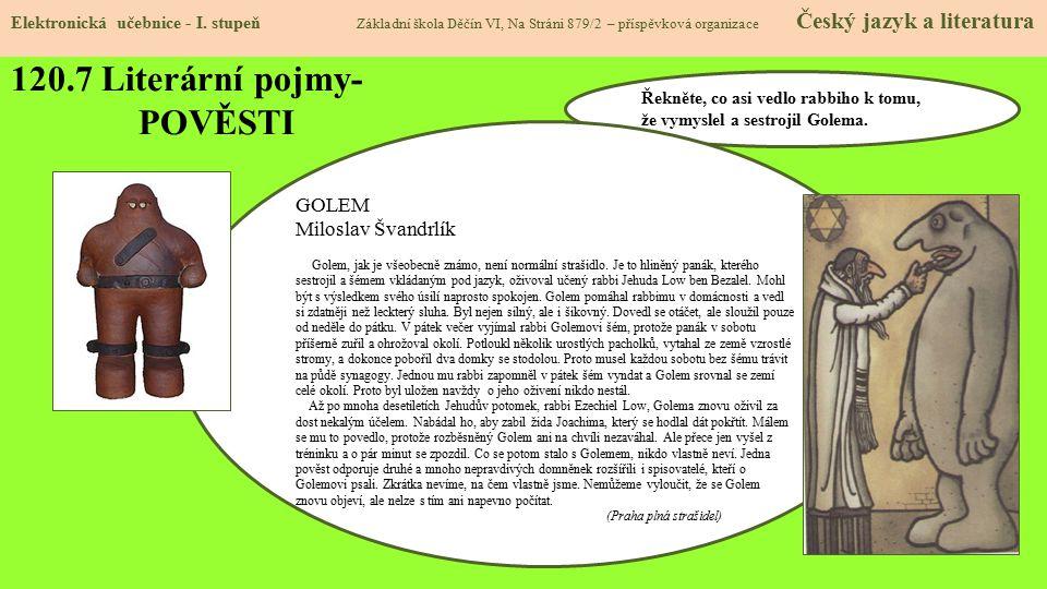 120.8 Literární pojmy- POVĚSTI Elektronická učebnice - I.