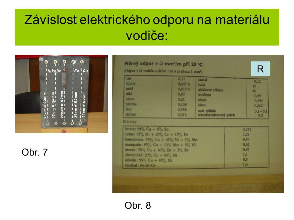 Závislost elektrického odporu na materiálu vodiče: Obr. 7 Obr. 8 R