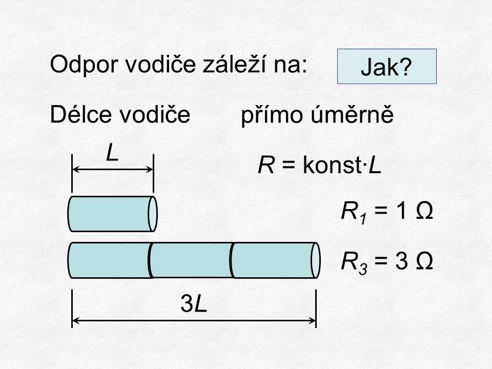 Odpor vodiče záleží na: Délce vodiče přímo úměrně R = konst∙L R 1 = 1 Ω R 3 = 3 Ω 3L3L L Jak