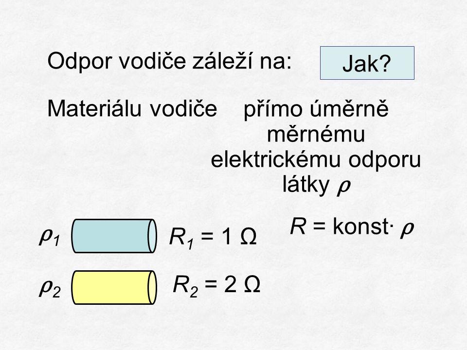 Odpor vodiče záleží na: Materiálu vodiče přímo úměrně měrnému elektrickému odporu látky ρ R = konst∙ ρ R 1 = 1 Ω R 2 = 2 Ω ρ1ρ1 Jak.