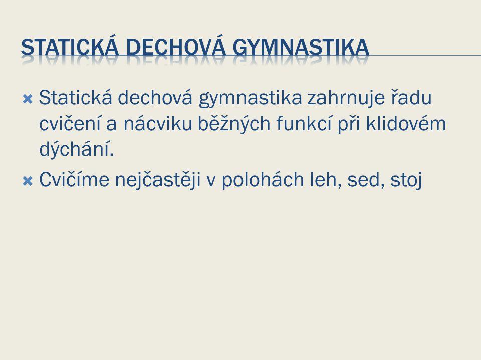 Statická dechová gymnastika zahrnuje řadu cvičení a nácviku běžných funkcí při klidovém dýchání.