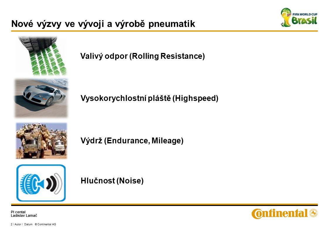 PI cental Ladislav Lamač 2 / Autor / Datum © Continental AG Nové výzvy ve vývoji a výrobě pneumatik Valivý odpor (Rolling Resistance) Vysokorychlostní pláště (Highspeed) Hlučnost (Noise) Výdrž (Endurance, Mileage)