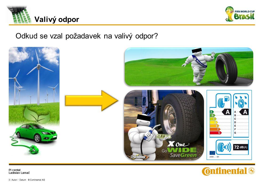 PI cental Ladislav Lamač 3 / Autor / Datum © Continental AG Valivý odpor Odkud se vzal požadavek na valivý odpor?