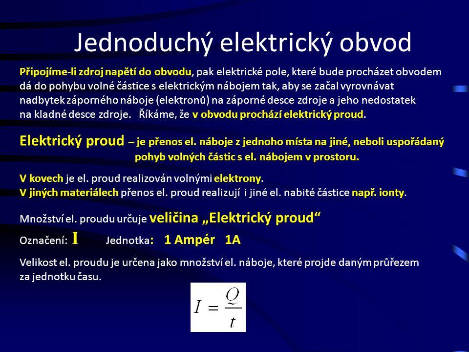"""Jednoduchý elektrický obvod Pohybu volných elektronů ve vodičích brání """"srážky s atomy materiálu."""