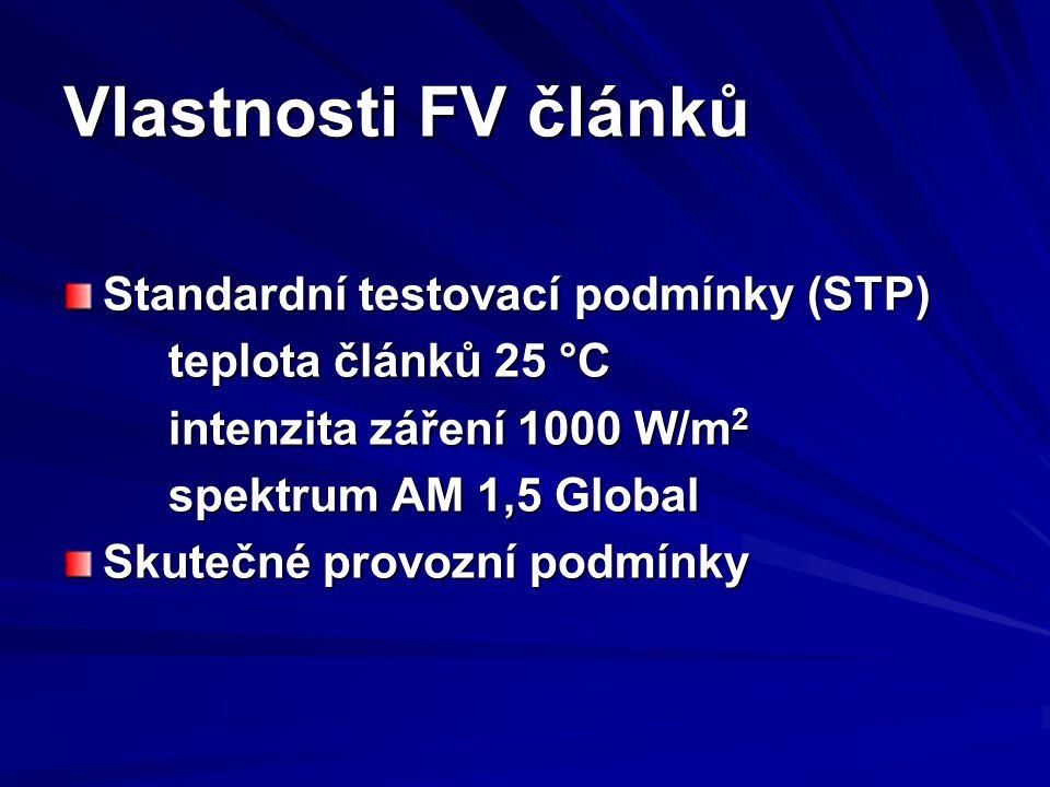 Vlastnosti FV článků Standardní testovací podmínky (STP) teplota článků 25 °C intenzita záření 1000 W/m 2 spektrum AM 1,5 Global Skutečné provozní podmínky