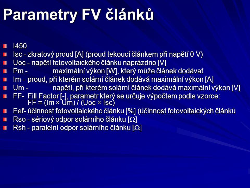 Parametry FV článků I450 Isc -zkratový proud [A] (proud tekoucí článkem při napětí 0 V) Uoc - napětí fotovoltaického článku naprázdno [V] Pm -maximální výkon [W], který může článek dodávat Im -proud, při kterém solární článek dodává maximální výkon [A] Um - napětí, při kterém solární článek dodává maximální výkon [V] FF-Fill Factor [-], parametr který se určuje výpočtem podle vzorce: FF = (Im × Um) / (Uoc × Isc) Eef-účinnost fotovoltaického článku [%] (účinnost fotovoltaických článků Rso - sériový odpor solárního článku [  ] Rsh - paralelní odpor solárního článku [  ]