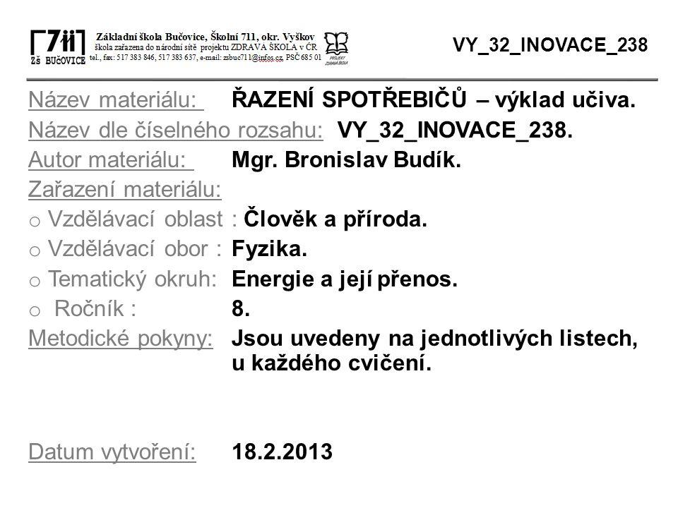 Název materiálu: ŘAZENÍ SPOTŘEBIČŮ – výklad učiva. Název dle číselného rozsahu: VY_32_INOVACE_238. Autor materiálu: Mgr. Bronislav Budík. Zařazení mat