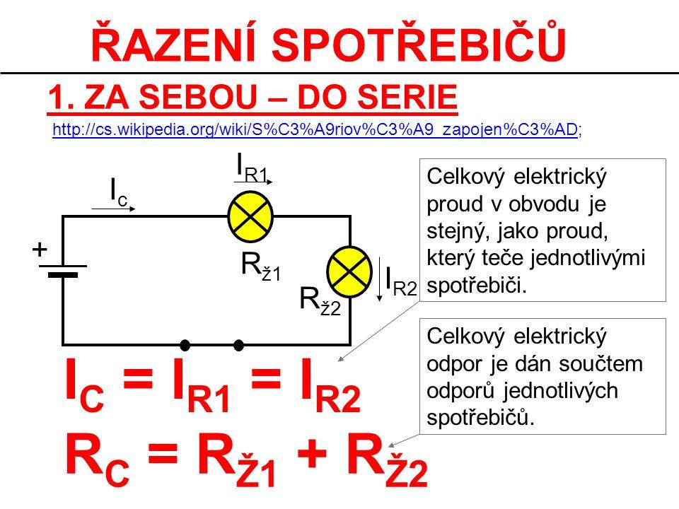 ŘAZENÍ SPOTŘEBIČŮ 1. ZA SEBOU – DO SERIE + IcIc R ž1 R ž2 I R1 I R2 I C = I R1 = I R2 R C = R Ž1 + R Ž2 Celkový elektrický proud v obvodu je stejný, j