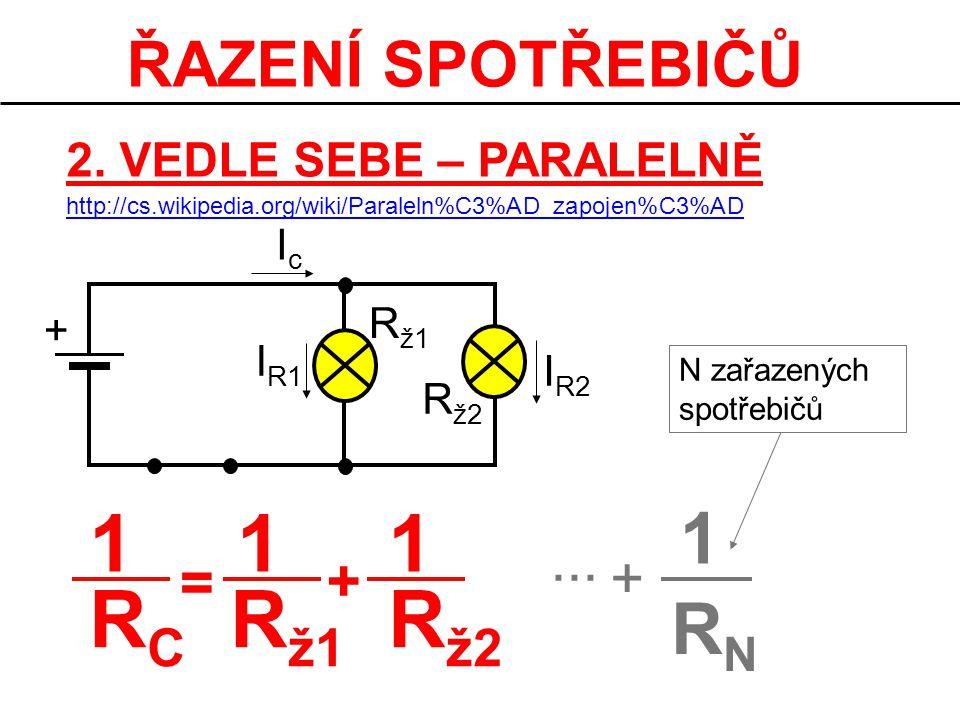 ŘAZENÍ SPOTŘEBIČŮ 2. VEDLE SEBE – PARALELNĚ I R2 + IcIc R ž1 R ž2 I R1 1 R C R ž1 R ž2 11 = + 1 RNRN +... N zařazených spotřebičů http://cs.wikipedia.