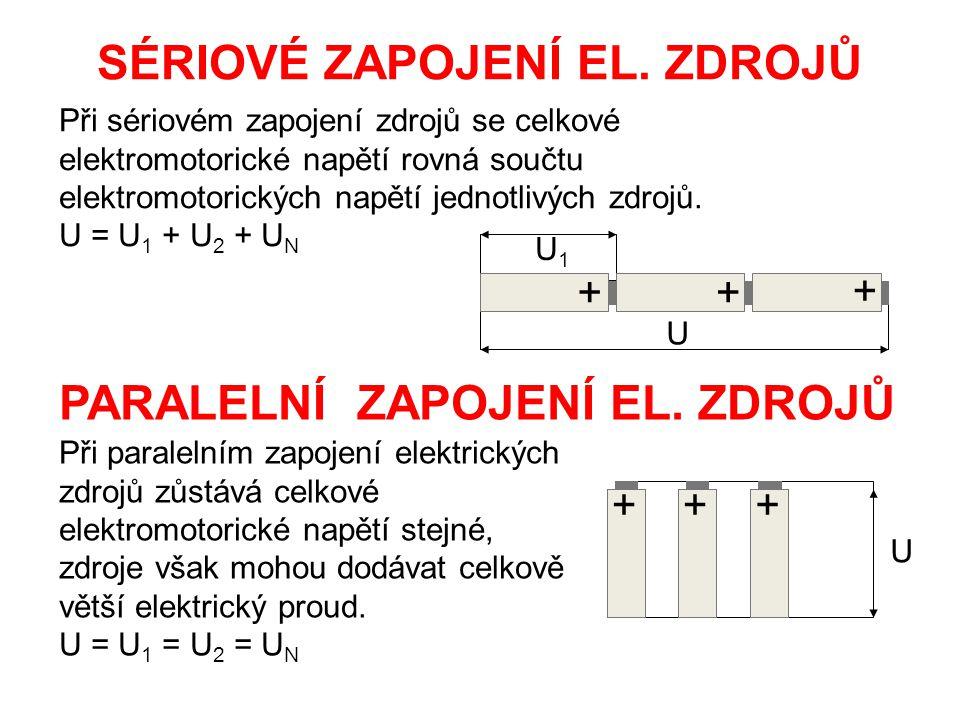 Při sériovém zapojení zdrojů se celkové elektromotorické napětí rovná součtu elektromotorických napětí jednotlivých zdrojů. U = U 1 + U 2 + U N SÉRIOV