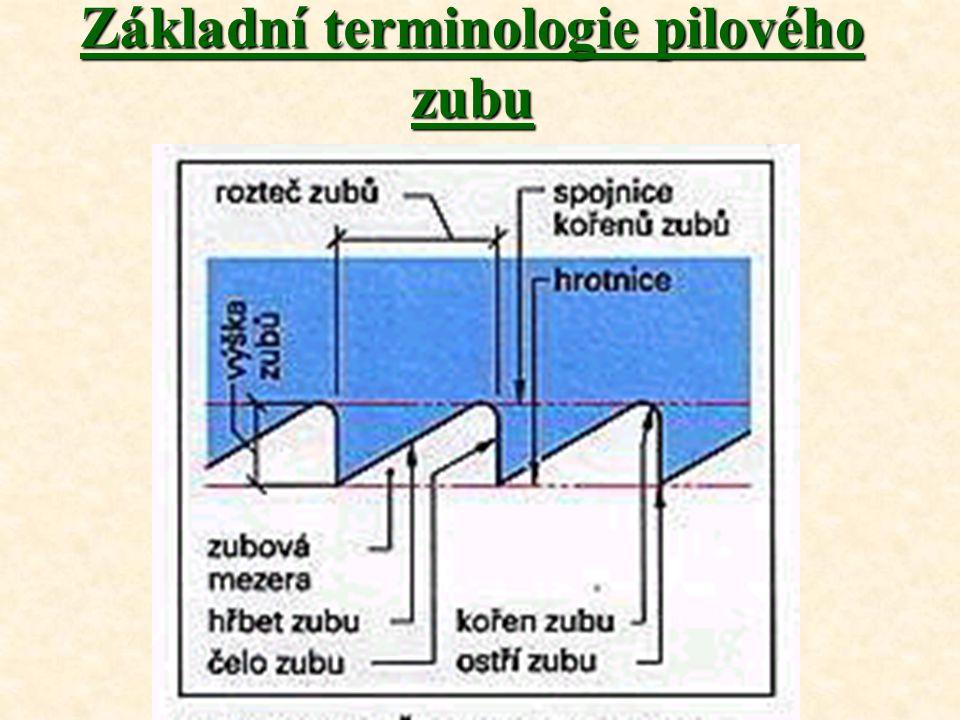 Hlavní plochy a roviny obráběná plocha – plocha materiálu před nástrojem, která se obrábí; obrobená plocha – plocha materiálu, která již byla nástrojem obrobena; rovina řezu – rovina, ve které se pohybuje nástroj; základní rovina – myšlená rovina, které prochází břitem a je kolmá na rovinu řezu; čelo zubu – přední plocha, po které klouže tříska při svém pohybu z místa řezu; hřbet zubu – je plocha obrácená k ploše řezu; hlavní břit – řezná hrana, vytvořená mezi plochouhřbetu a čela.