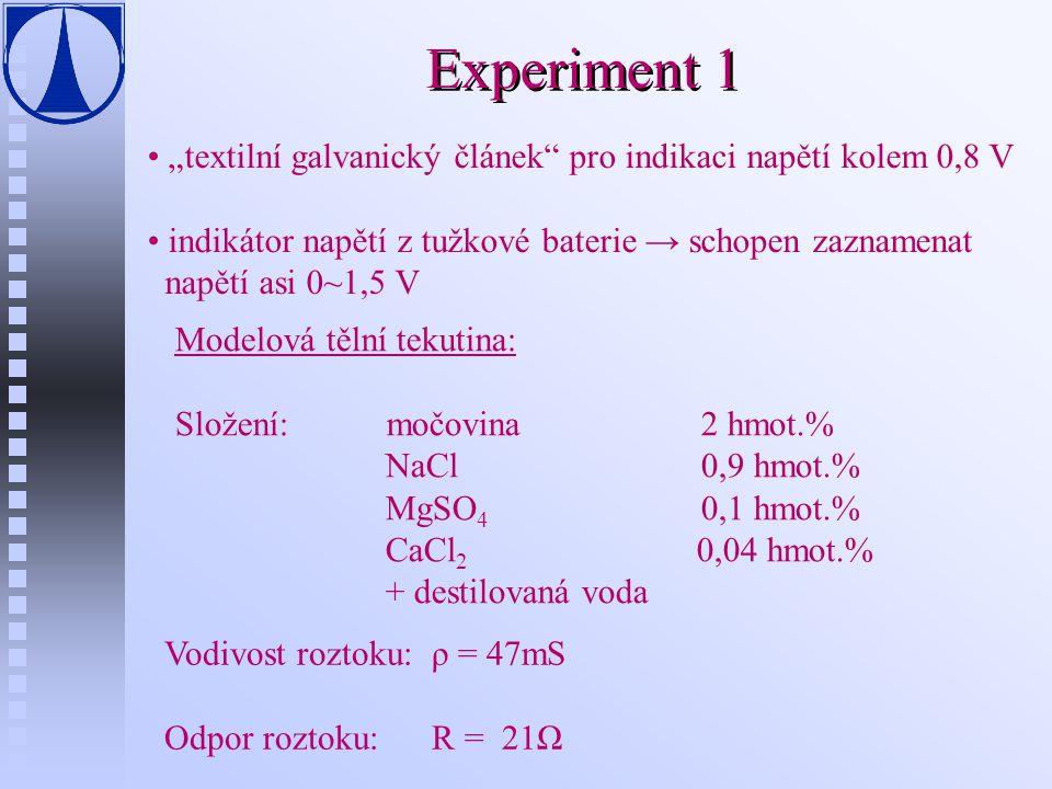 """Experiment 1 """"textilní galvanický článek"""" pro indikaci napětí kolem 0,8 V indikátor napětí z tužkové baterie → schopen zaznamenat napětí asi 0~1,5 V M"""