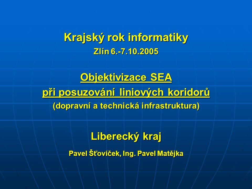 Krajský rok informatiky Zlín 6.-7.10.2005 Objektivizace SEA při posuzování liniových koridorů (dopravní a technická infrastruktura) Liberecký kraj Pav