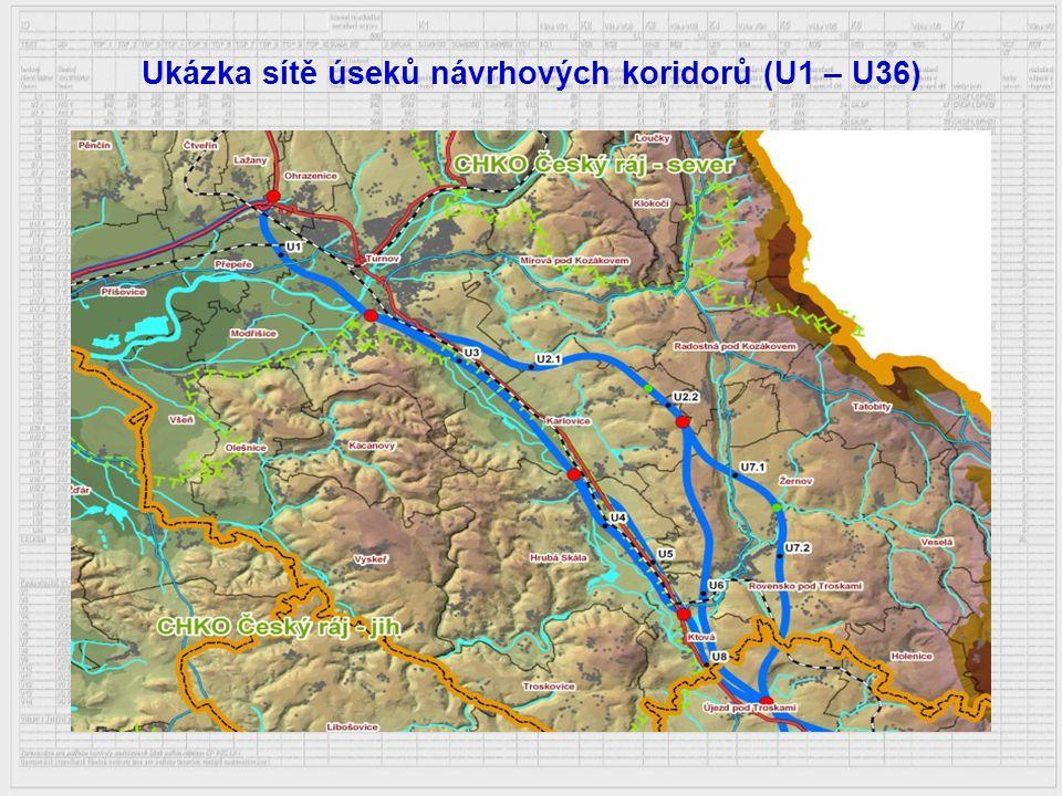 Ukázka sítě úseků návrhových koridorů (U1 – U36)