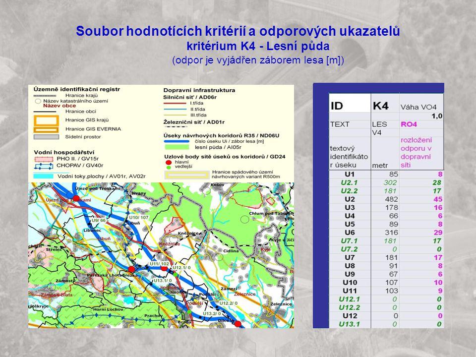 Soubor hodnotících kritérií a odporových ukazatelů kritérium K4 - Lesní půda (odpor je vyjádřen záborem lesa [m])