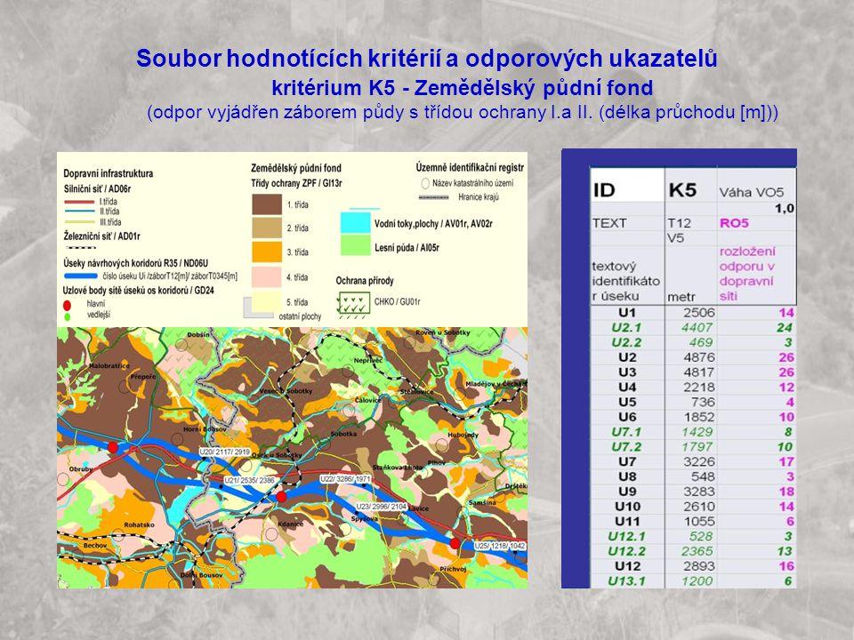 Soubor hodnotících kritérií a odporových ukazatelů kritérium K5 - Zemědělský půdní fond (odpor vyjádřen záborem půdy s třídou ochrany I.a II. (délka p