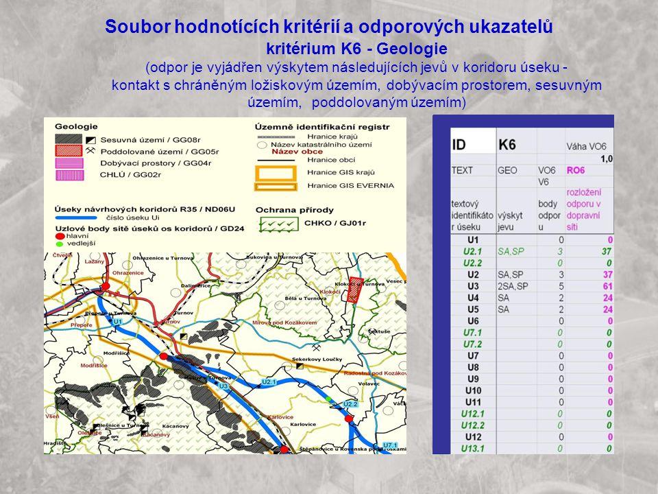 Soubor hodnotících kritérií a odporových ukazatelů kritérium K6 - Geologie (odpor je vyjádřen výskytem následujících jevů v koridoru úseku - kontakt s chráněným ložiskovým územím, dobývacím prostorem, sesuvným územím, poddolovaným územím)