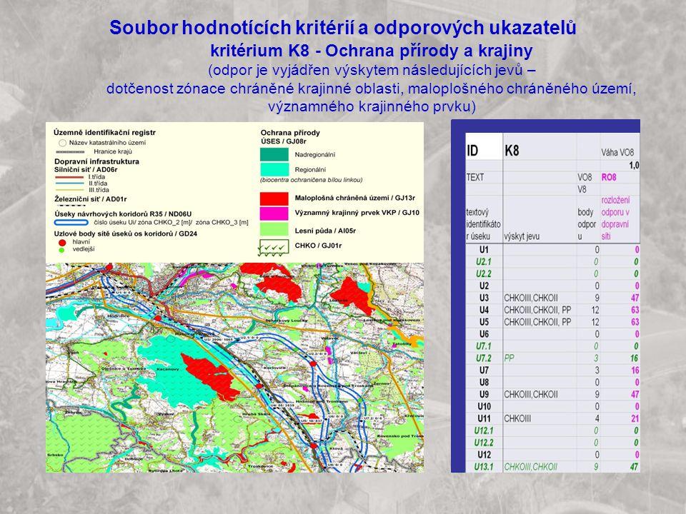 Soubor hodnotících kritérií a odporových ukazatelů kritérium K8 - Ochrana přírody a krajiny (odpor je vyjádřen výskytem následujících jevů – dotčenost zónace chráněné krajinné oblasti, maloplošného chráněného území, významného krajinného prvku)